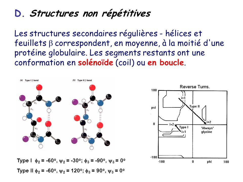 D. Structures non répétitives Les structures secondaires régulières - hélices et feuillets correspondent, en moyenne, à la moitié d'une protéine globu