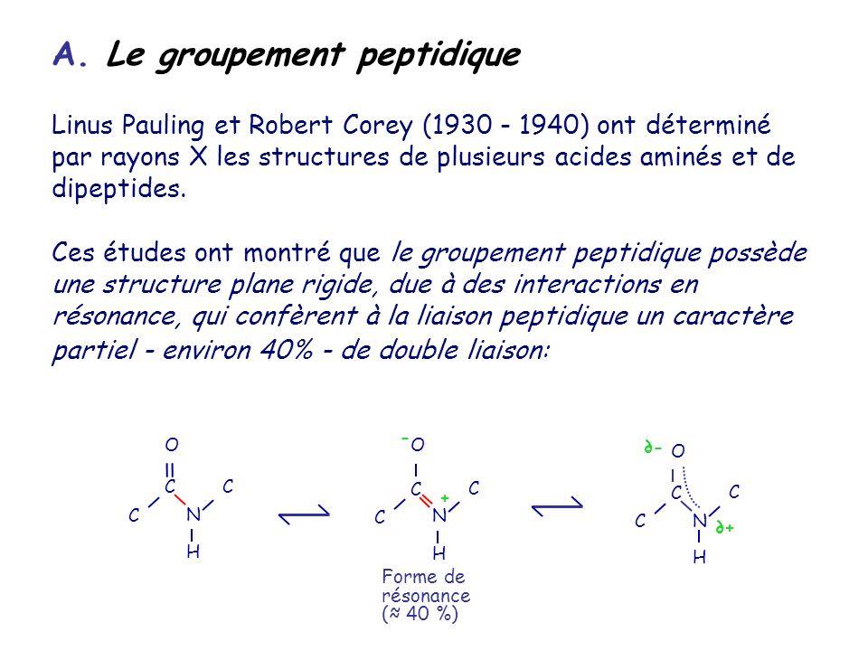 A. Le groupement peptidique Linus Pauling et Robert Corey (1930 - 1940) ont déterminé par rayons X les structures de plusieurs acides aminés et de dip