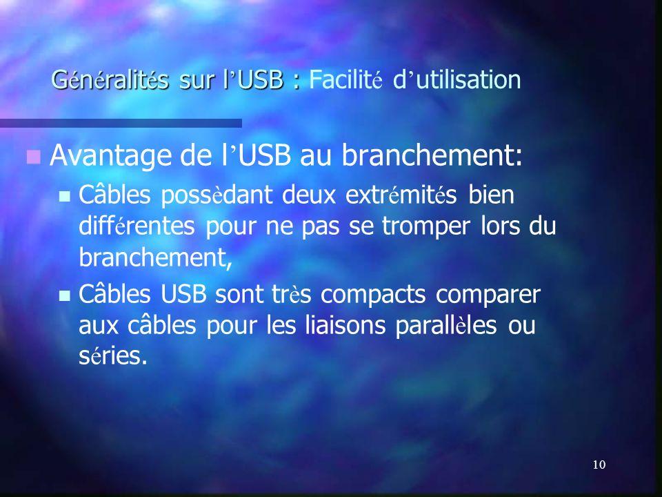 10 G é n é ralit é s sur l USB : G é n é ralit é s sur l USB : Facilit é d utilisation Avantage de l USB au branchement: Câbles poss è dant deux extr