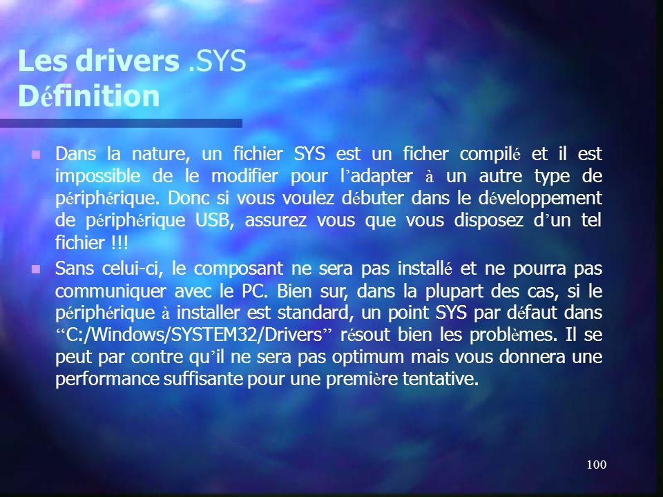100 Les drivers.SYS D é finition Dans la nature, un fichier SYS est un ficher compil é et il est impossible de le modifier pour l adapter à un autre t