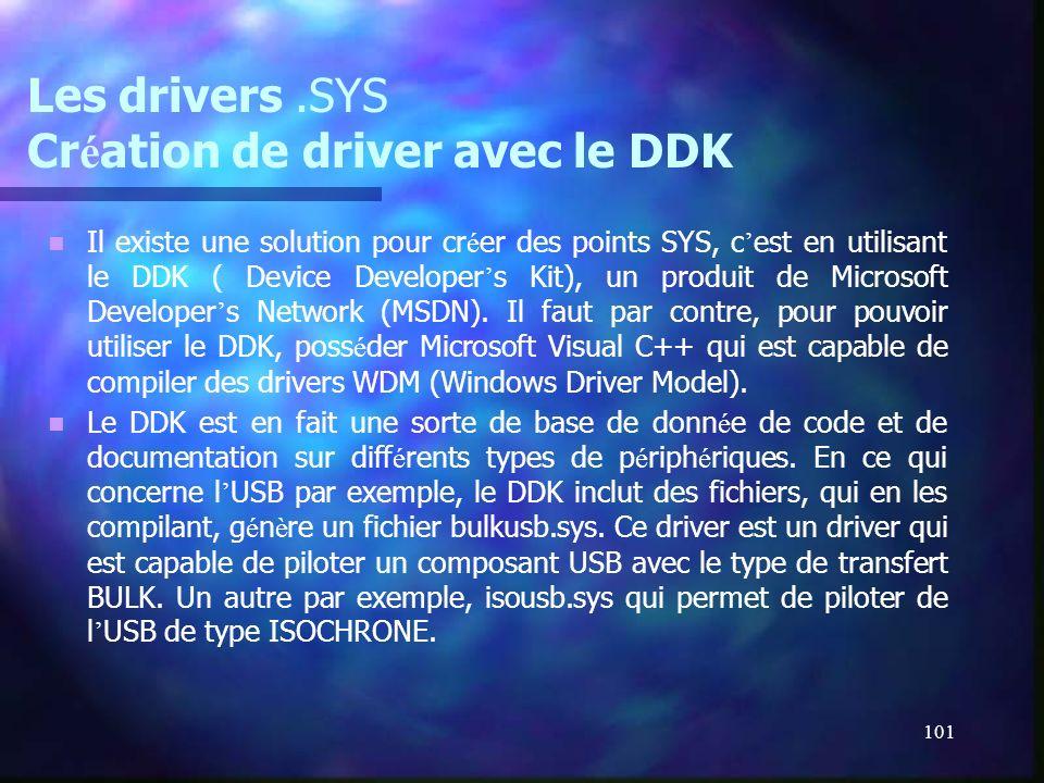 101 Les drivers.SYS Cr é ation de driver avec le DDK Il existe une solution pour cr é er des points SYS, c est en utilisant le DDK ( Device Developer