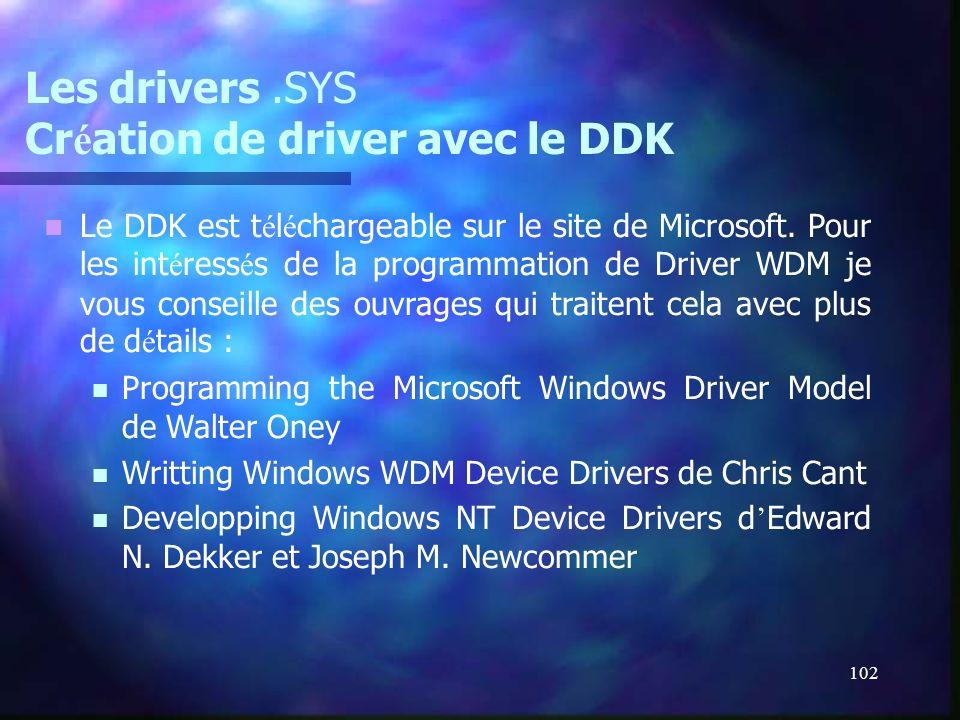 102 Les drivers.SYS Cr é ation de driver avec le DDK Le DDK est t é l é chargeable sur le site de Microsoft. Pour les int é ress é s de la programmati
