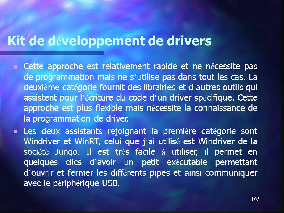 105 Kit de d é veloppement de drivers Cette approche est relativement rapide et ne n é cessite pas de programmation mais ne s utilise pas dans tout le