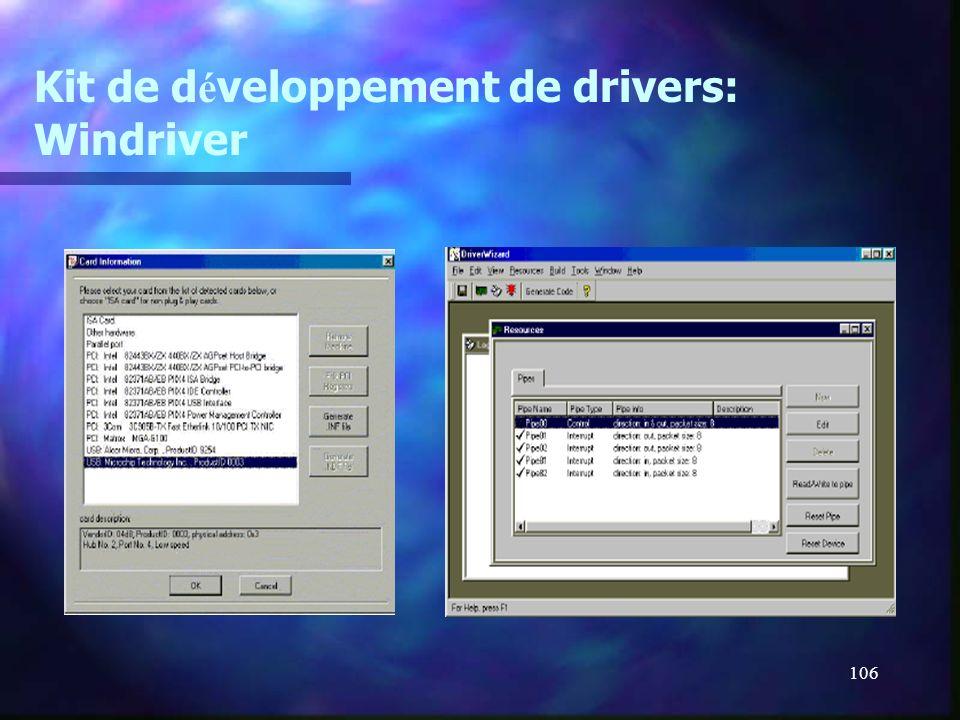 106 Kit de d é veloppement de drivers: Windriver