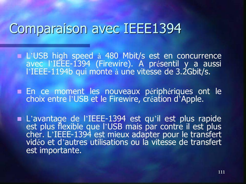 111 Comparaison avec IEEE1394 L USB high speed à 480 Mbit/s est en concurrence avec l IEEE-1394 (Firewire). A pr é sentil y a aussi l IEEE-1194b qui m