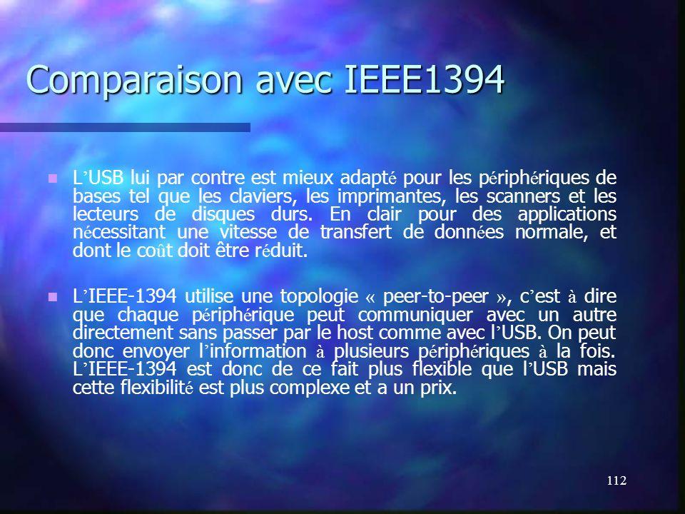 112 Comparaison avec IEEE1394 L USB lui par contre est mieux adapt é pour les p é riph é riques de bases tel que les claviers, les imprimantes, les sc