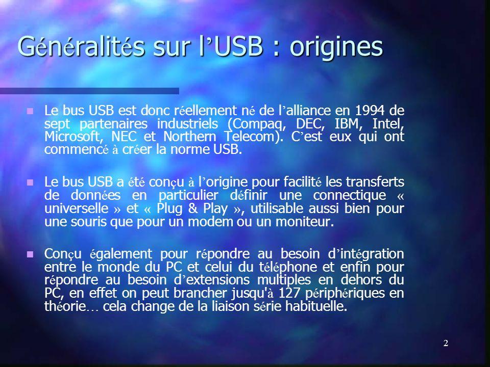 2 G é n é ralit é s sur l USB : origines Le bus USB est donc r é ellement n é de l alliance en 1994 de sept partenaires industriels (Compaq, DEC, IBM,