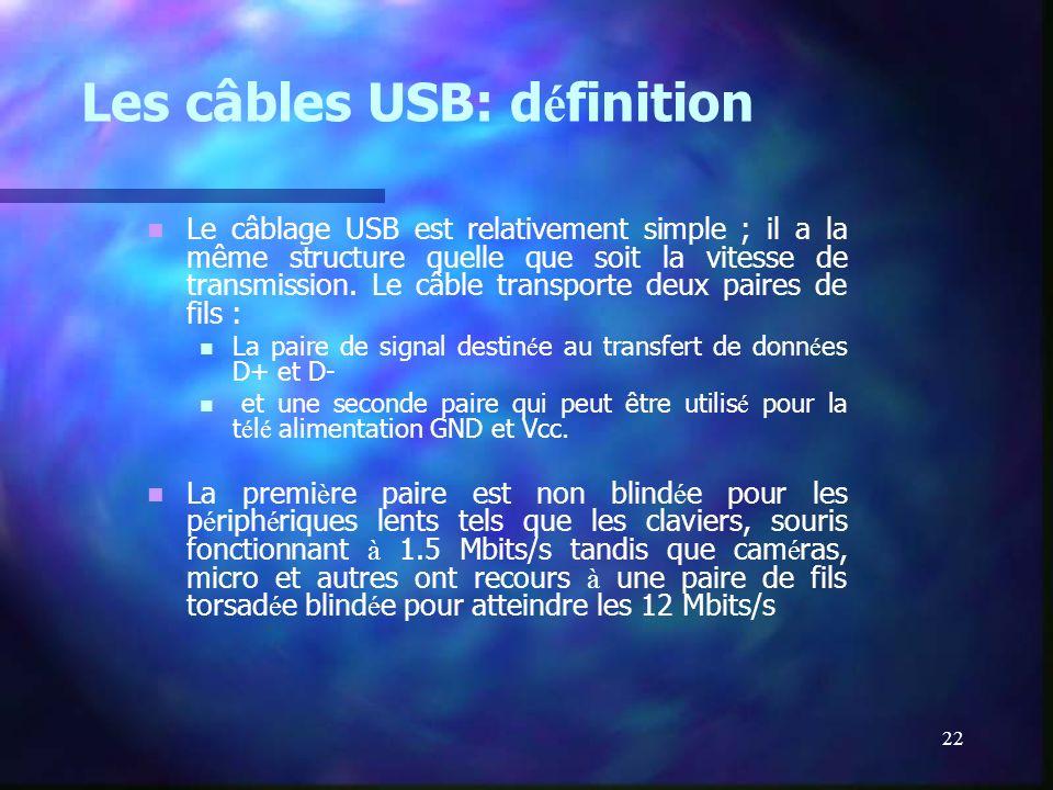 22 Les câbles USB: d é finition Le câblage USB est relativement simple ; il a la même structure quelle que soit la vitesse de transmission. Le câble t