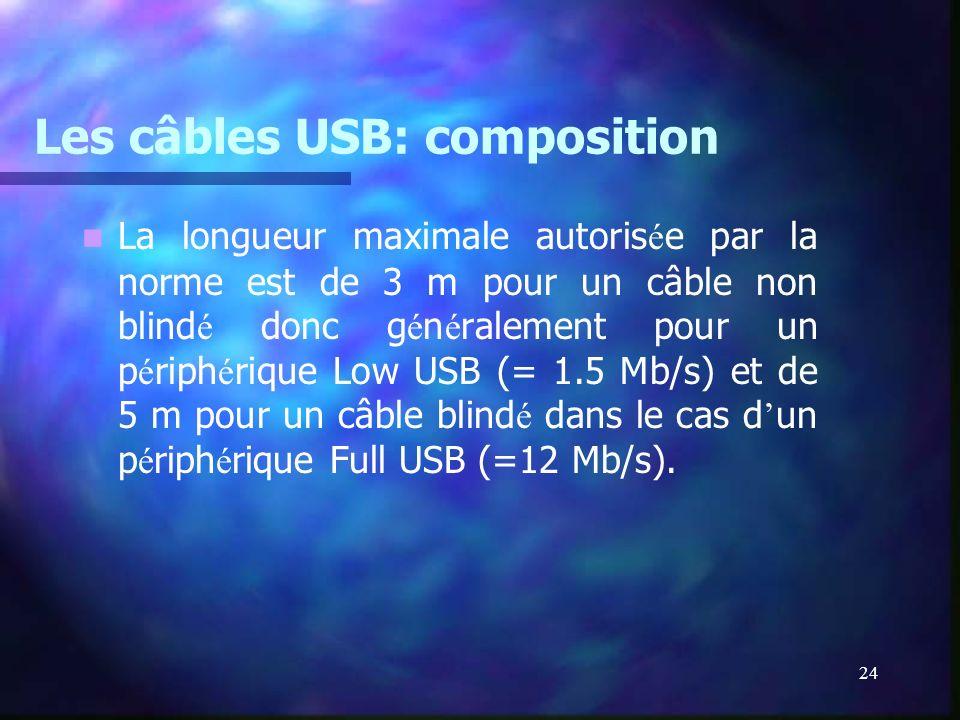 24 Les câbles USB: composition La longueur maximale autoris é e par la norme est de 3 m pour un câble non blind é donc g é n é ralement pour un p é ri