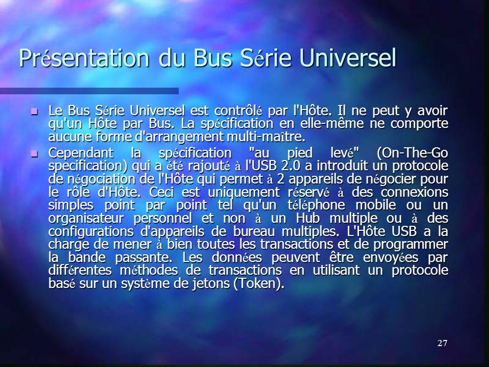 27 Pr é sentation du Bus S é rie Universel Le Bus S é rie Universel est contrôl é par l'Hôte. Il ne peut y avoir qu'un Hôte par Bus. La sp é cificatio