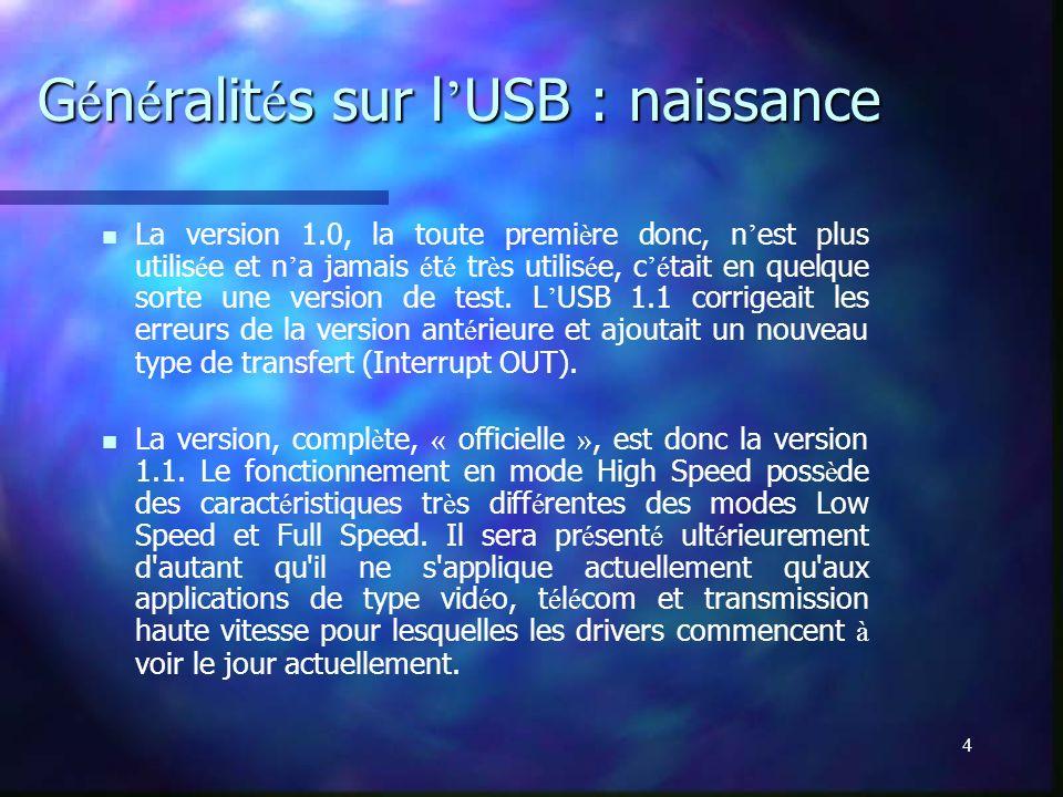 4 G é n é ralit é s sur l USB : naissance La version 1.0, la toute premi è re donc, n est plus utilis é e et n a jamais é t é tr è s utilis é e, c é t