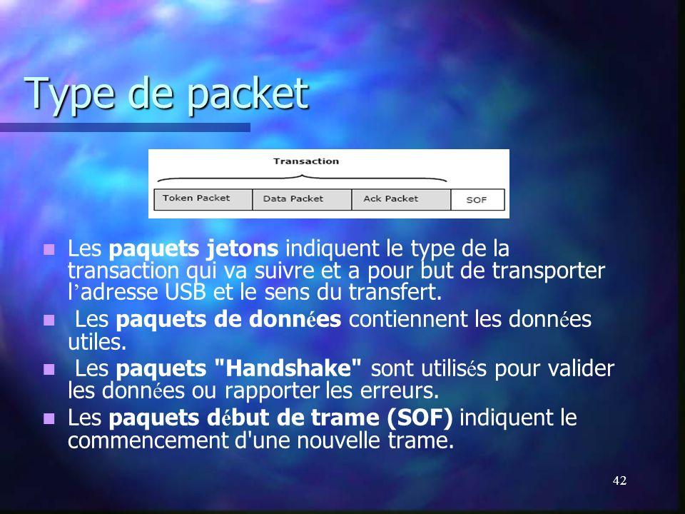 42 Type de packet Les paquets jetons indiquent le type de la transaction qui va suivre et a pour but de transporter l adresse USB et le sens du transf