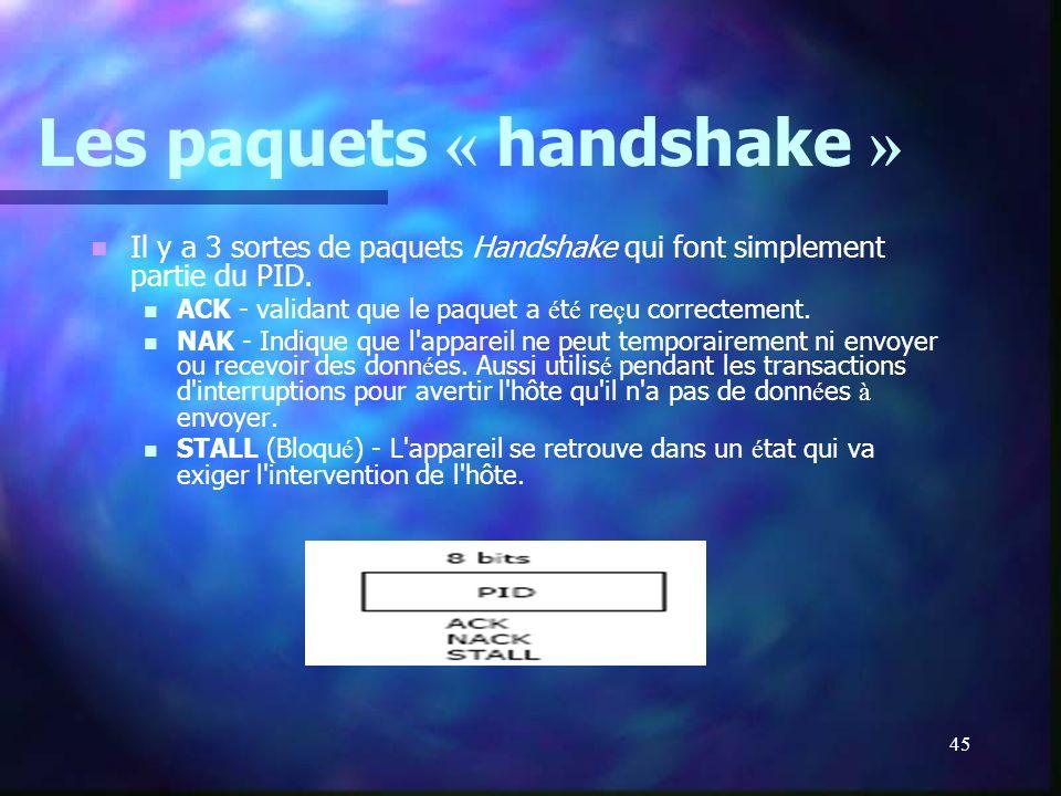 45 Les paquets « handshake » Il y a 3 sortes de paquets Handshake qui font simplement partie du PID. ACK - validant que le paquet a é t é re ç u corre