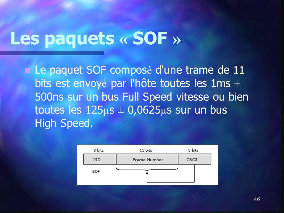46 Les paquets « SOF » Le paquet SOF compos é d'une trame de 11 bits est envoy é par l'hôte toutes les 1ms ± 500ns sur un bus Full Speed vitesse ou bi