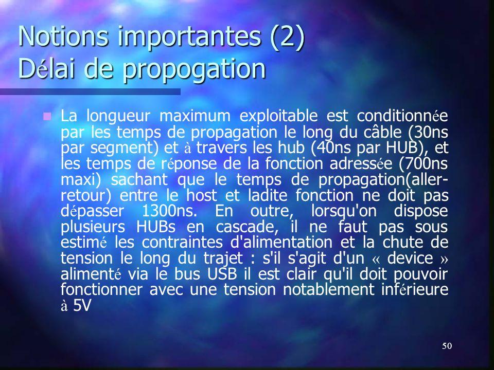 50 Notions importantes (2) D é lai de propogation La longueur maximum exploitable est conditionn é e par les temps de propagation le long du câble (30