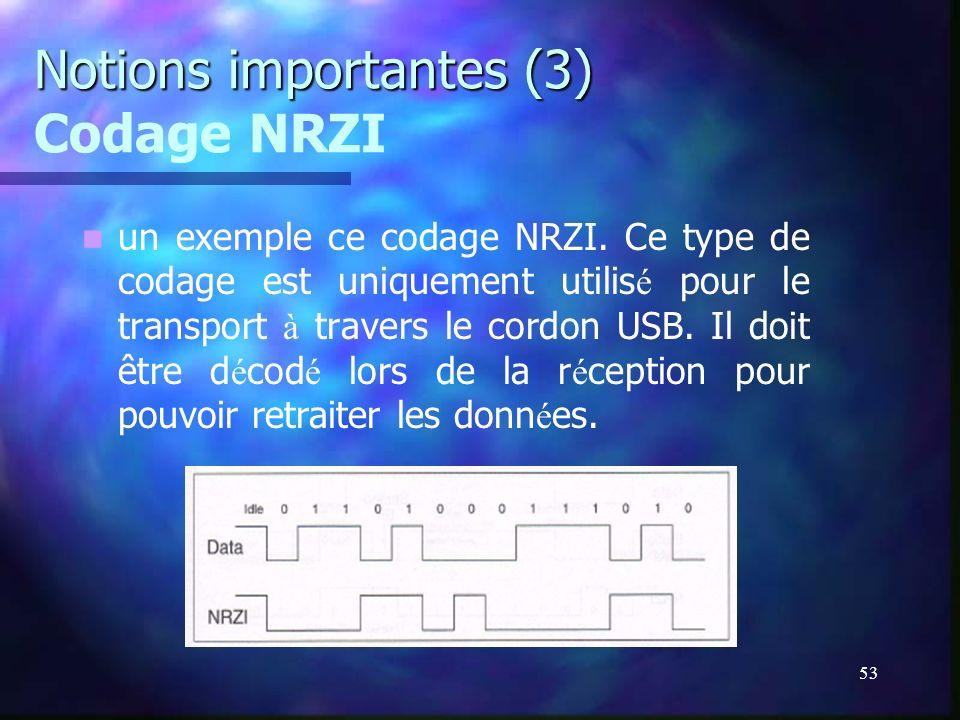 53 Notions importantes (3) Notions importantes (3) Codage NRZI un exemple ce codage NRZI. Ce type de codage est uniquement utilis é pour le transport