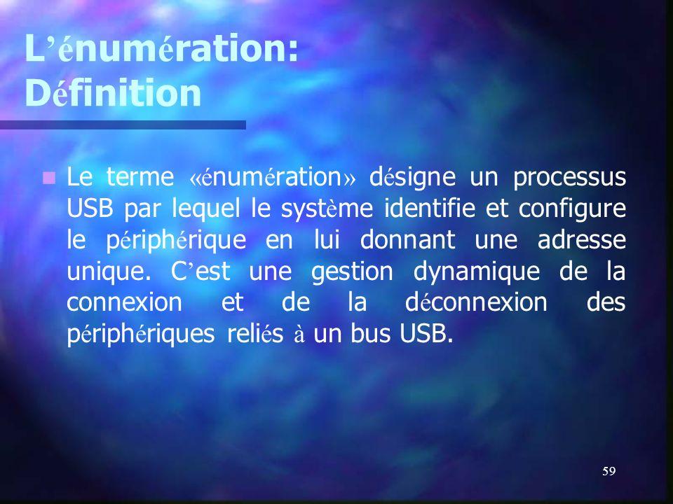 59 L é num é ration: D é finition Le terme «é num é ration » d é signe un processus USB par lequel le syst è me identifie et configure le p é riph é r