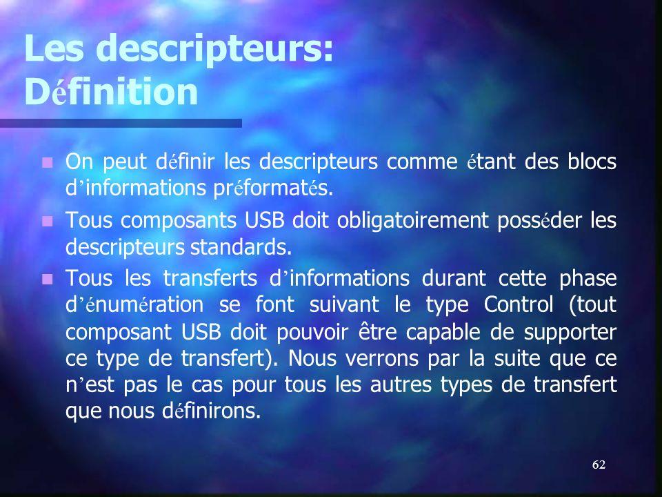 62 Les descripteurs: D é finition On peut d é finir les descripteurs comme é tant des blocs d informations pr é format é s. Tous composants USB doit o