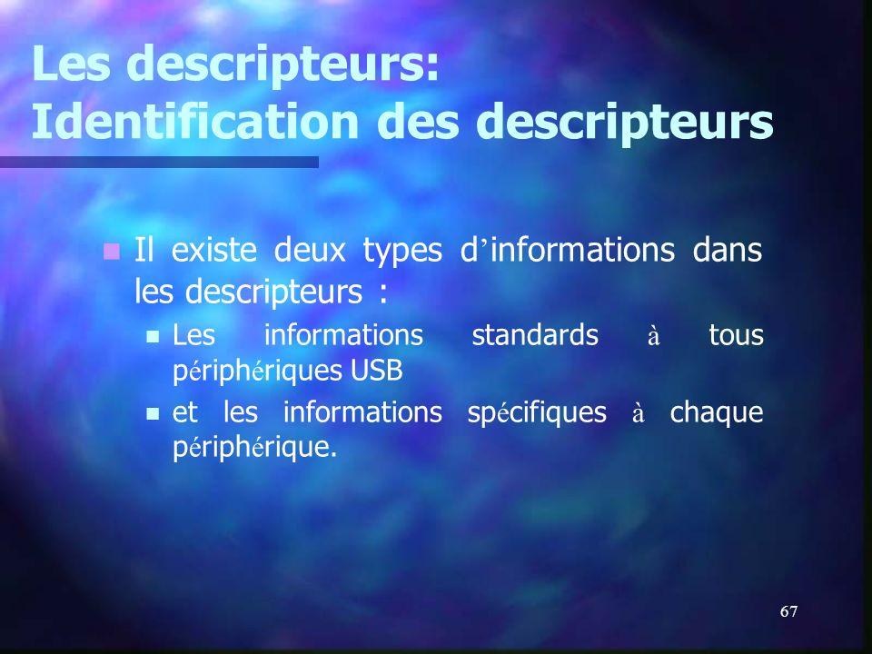 67 Les descripteurs: Identification des descripteurs Il existe deux types d informations dans les descripteurs : Les informations standards à tous p é