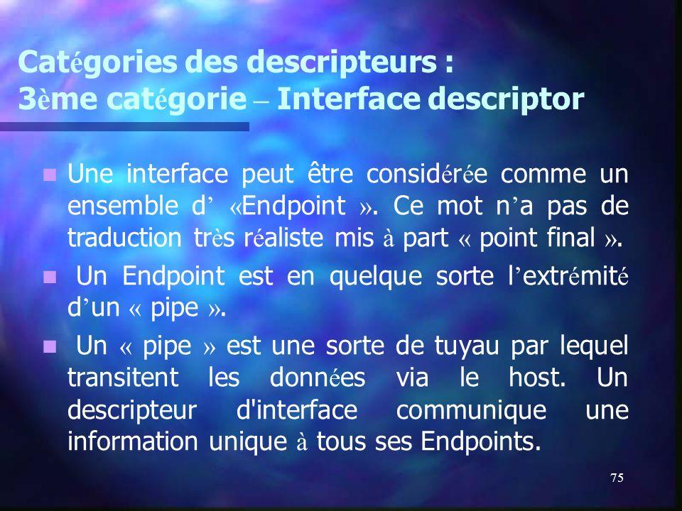 75 Cat é gories des descripteurs : 3 è me cat é gorie – Interface descriptor Une interface peut être consid é r é e comme un ensemble d « Endpoint ».