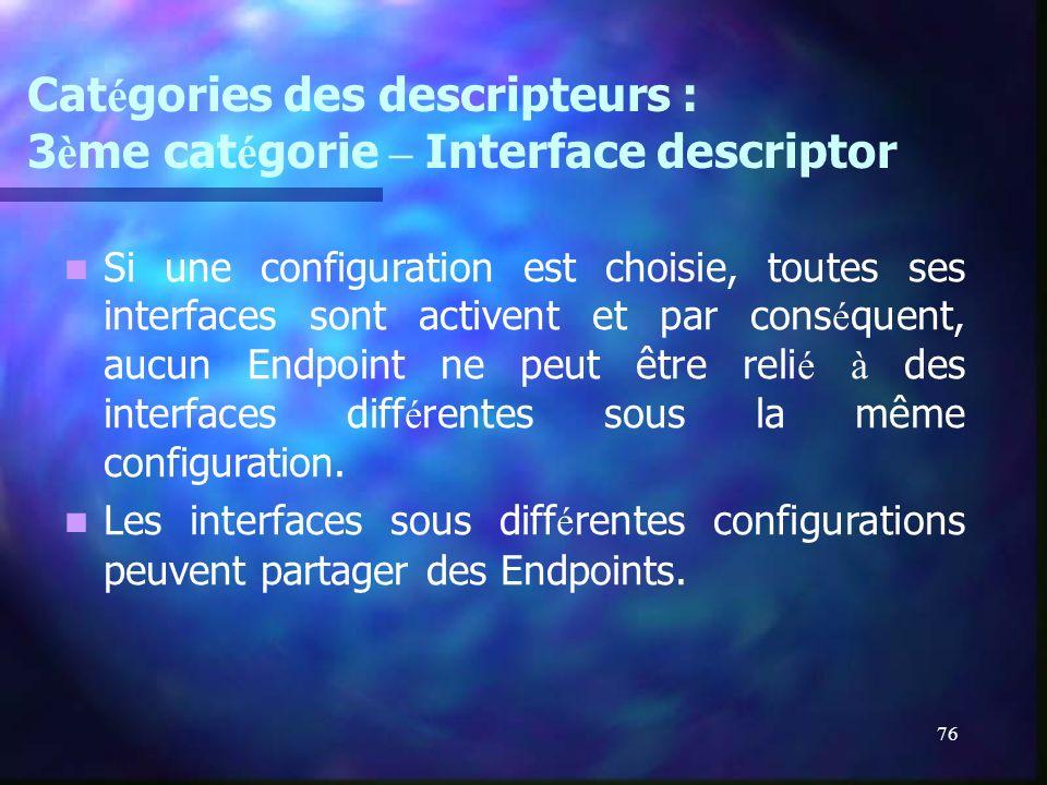 76 Cat é gories des descripteurs : 3 è me cat é gorie – Interface descriptor Si une configuration est choisie, toutes ses interfaces sont activent et