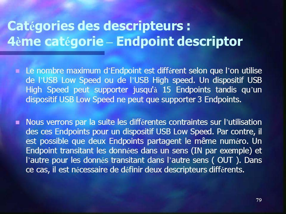 79 Cat é gories des descripteurs : 4 è me cat é gorie – Endpoint descriptor Le nombre maximum d Endpoint est diff é rent selon que l on utilise de l U
