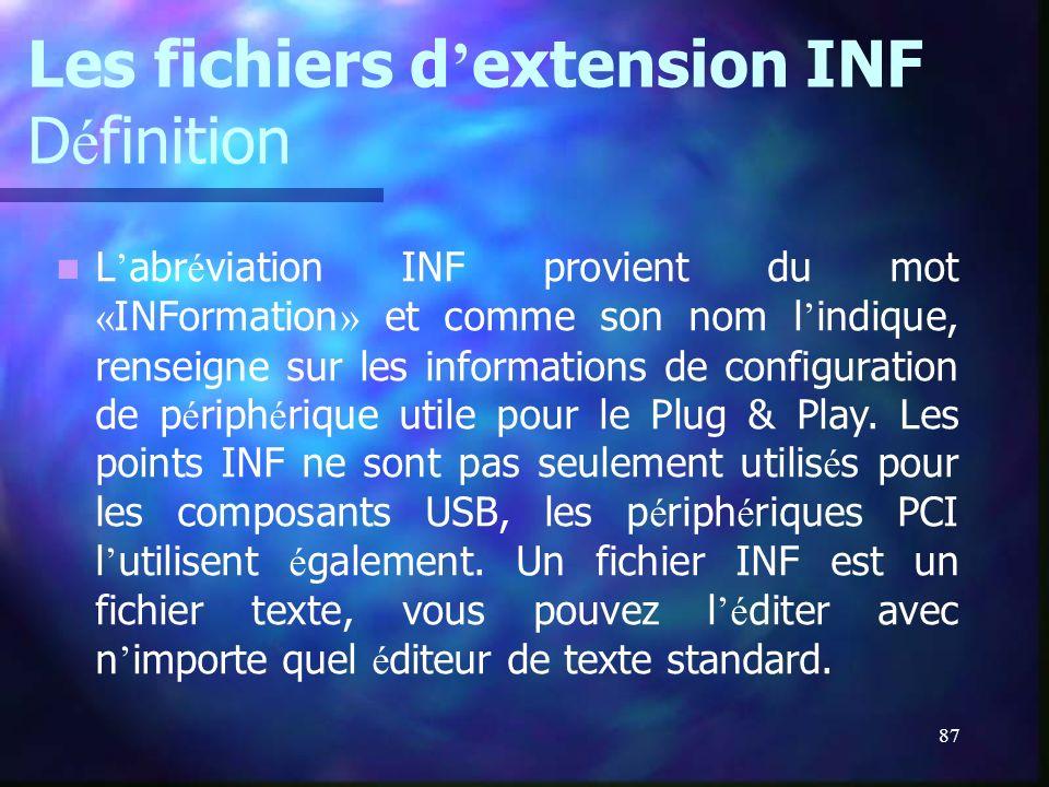 87 Les fichiers d extension INF D é finition L abr é viation INF provient du mot « INFormation » et comme son nom l indique, renseigne sur les informa