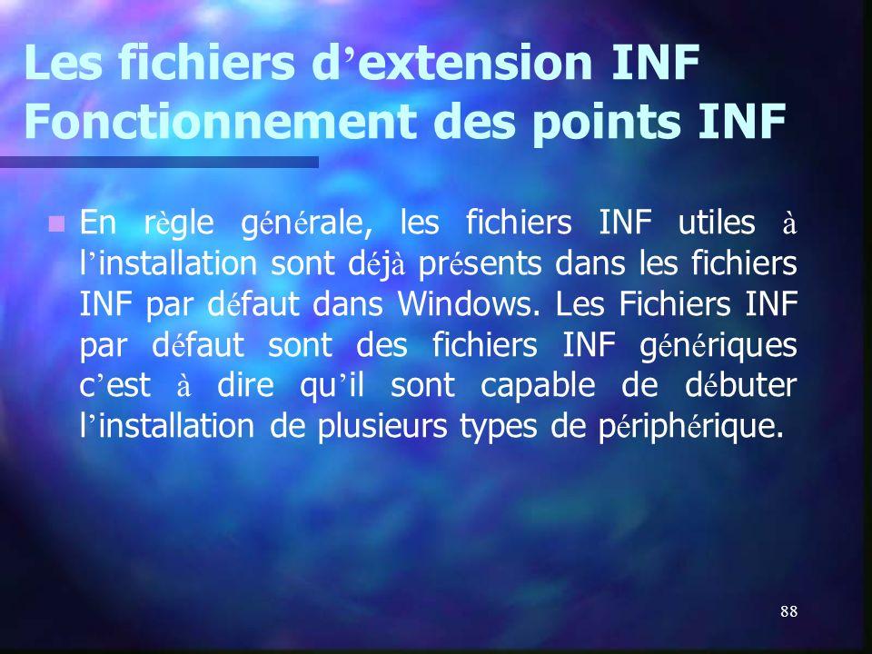88 Les fichiers d extension INF Fonctionnement des points INF En r è gle g é n é rale, les fichiers INF utiles à l installation sont d é j à pr é sent