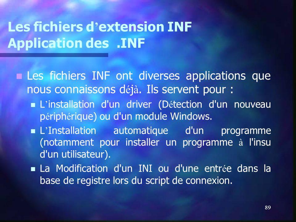 89 Les fichiers d extension INF Application des.INF Les fichiers INF ont diverses applications que nous connaissons d é j à. Ils servent pour : L inst
