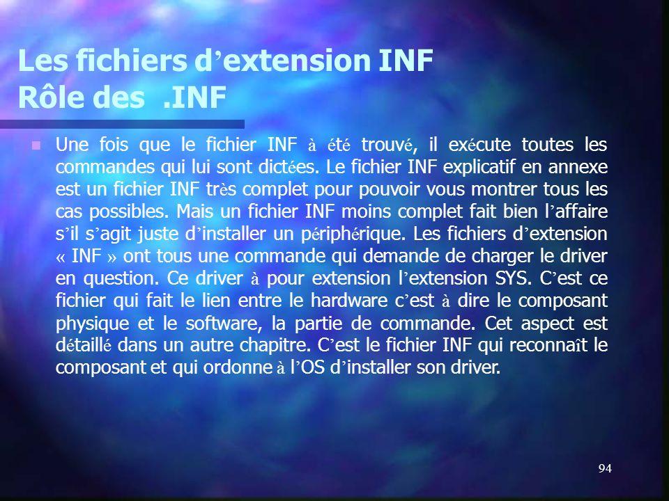 94 Les fichiers d extension INF Rôle des.INF Une fois que le fichier INF à é t é trouv é, il ex é cute toutes les commandes qui lui sont dict é es. Le