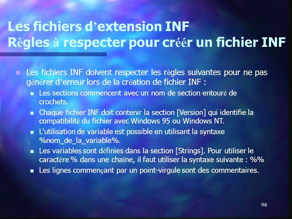96 Les fichiers d extension INF R è gles à respecter pour cr éé r un fichier INF Les fichiers INF doivent respecter les r è gles suivantes pour ne pas
