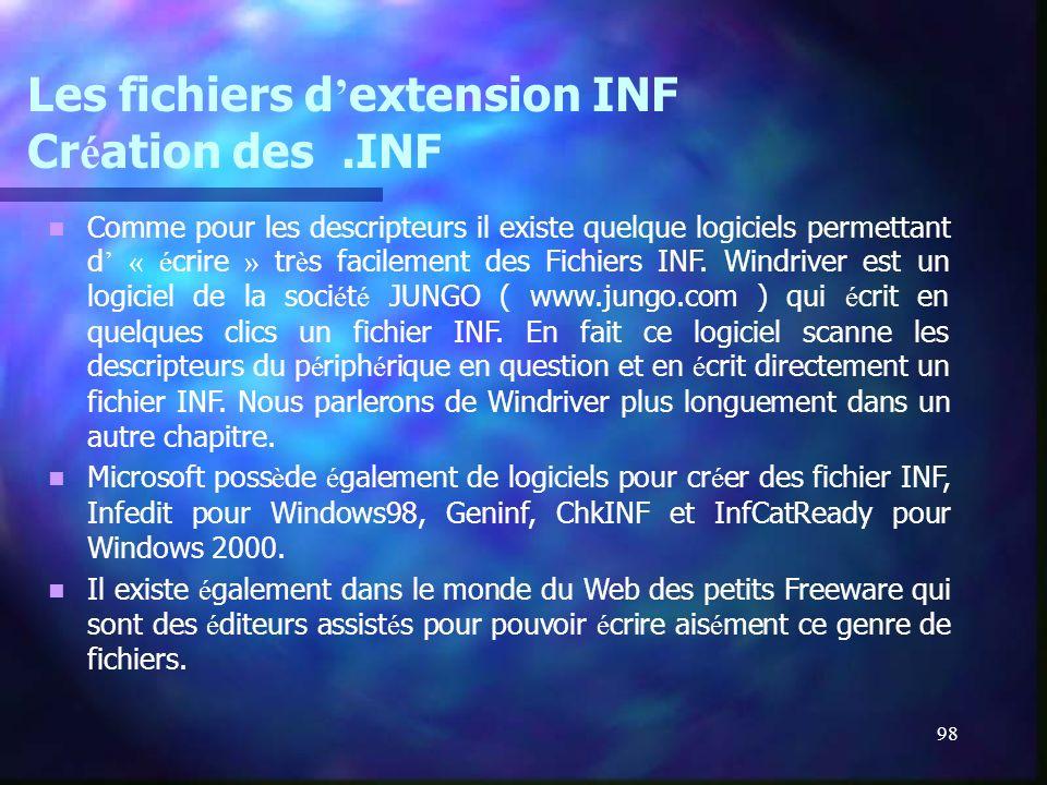 98 Les fichiers d extension INF Cr é ation des.INF Comme pour les descripteurs il existe quelque logiciels permettant d « é crire » tr è s facilement