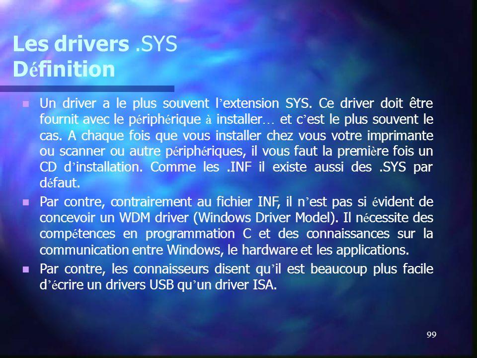 99 Les drivers.SYS D é finition Un driver a le plus souvent l extension SYS. Ce driver doit être fournit avec le p é riph é rique à installer … et c e