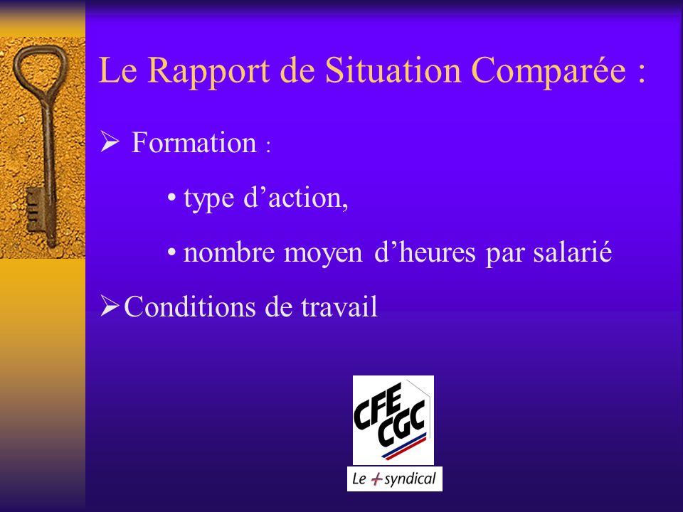 Le Rapport de Situation Comparée : Formation : type daction, nombre moyen dheures par salarié Conditions de travail