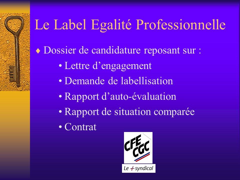 Le Label Egalité Professionnelle Dossier de candidature reposant sur : Lettre dengagement Demande de labellisation Rapport dauto-évaluation Rapport de situation comparée Contrat