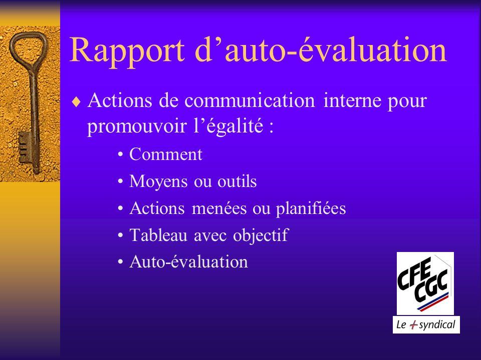 Rapport dauto-évaluation Actions de communication interne pour promouvoir légalité : Comment Moyens ou outils Actions menées ou planifiées Tableau avec objectif Auto-évaluation