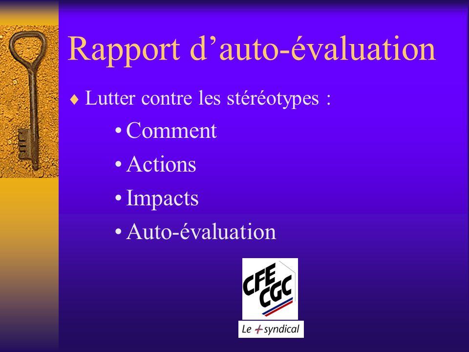 Rapport dauto-évaluation Lutter contre les stéréotypes : Comment Actions Impacts Auto-évaluation