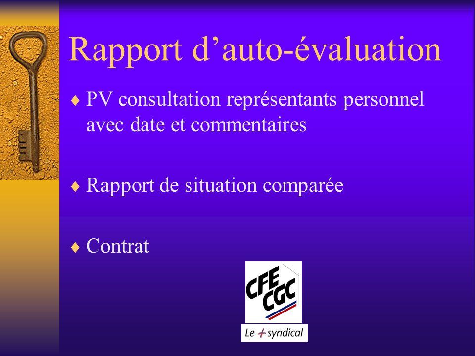 Rapport dauto-évaluation PV consultation représentants personnel avec date et commentaires Rapport de situation comparée Contrat
