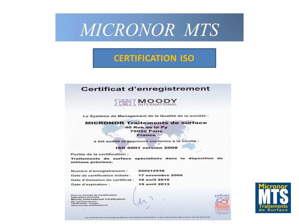 MICRONOR MTS CERTIFICATION ISO