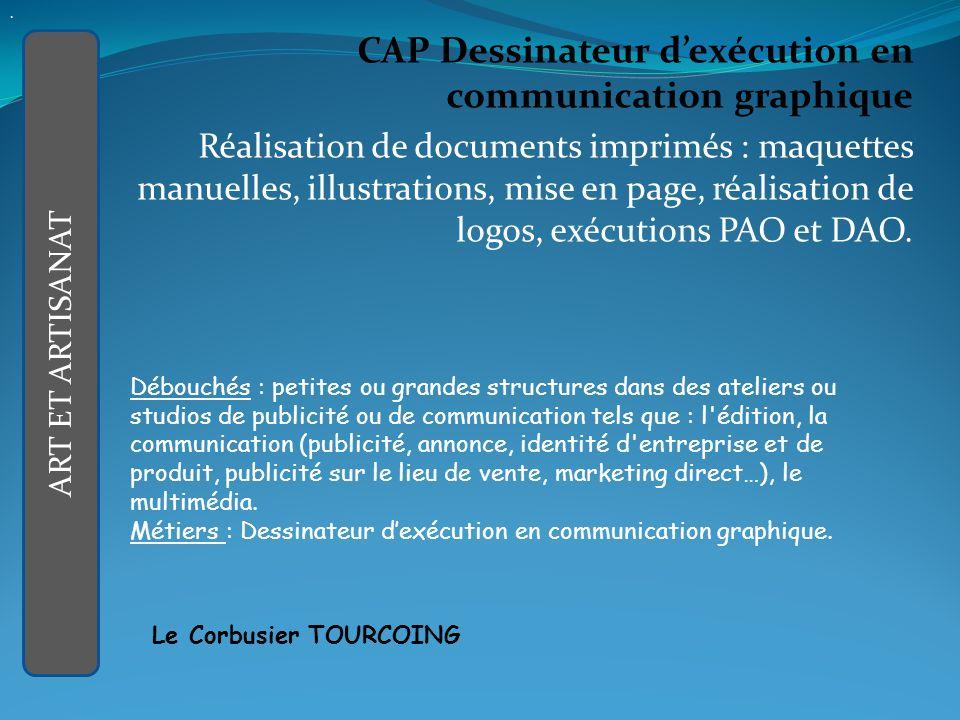 CAP Dessinateur dexécution en communication graphique Réalisation de documents imprimés : maquettes manuelles, illustrations, mise en page, réalisation de logos, exécutions PAO et DAO.