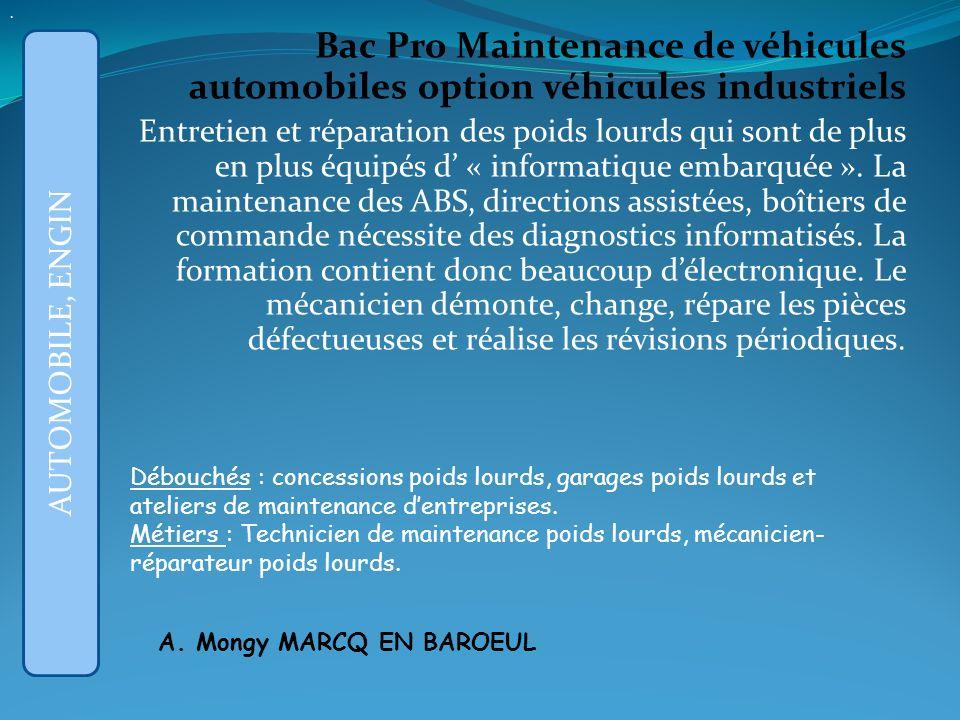 Bac Pro Maintenance de véhicules automobiles option véhicules industriels Entretien et réparation des poids lourds qui sont de plus en plus équipés d « informatique embarquée ».