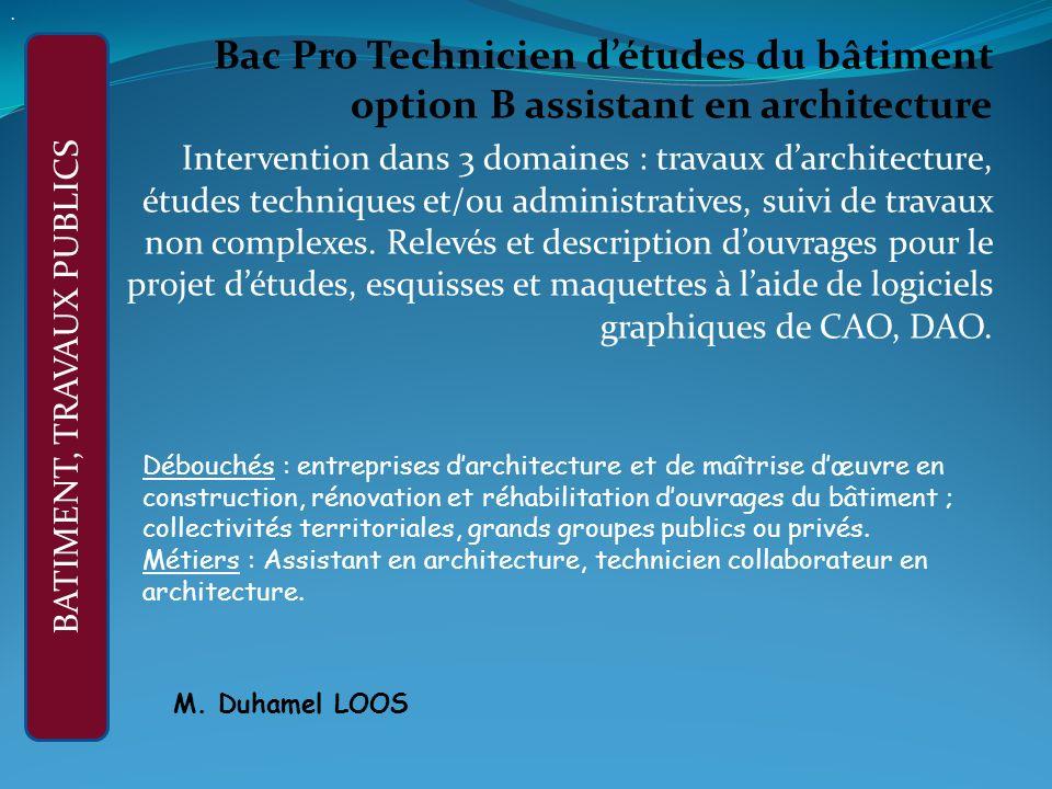 Bac Pro Technicien détudes du bâtiment option B assistant en architecture Intervention dans 3 domaines : travaux darchitecture, études techniques et/ou administratives, suivi de travaux non complexes.