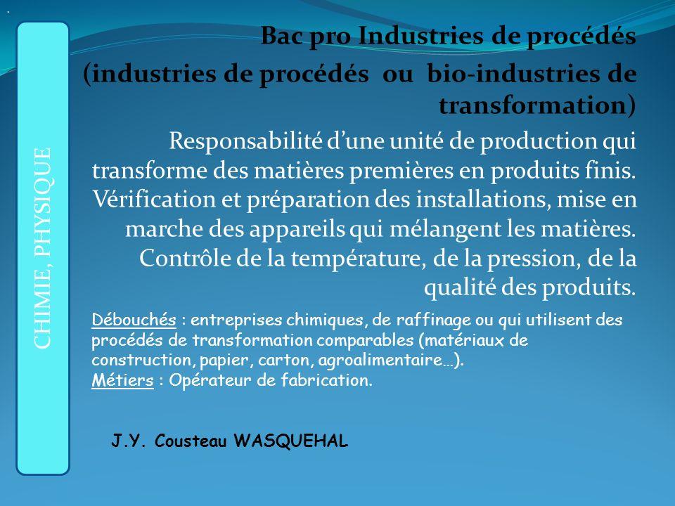 Bac pro Industries de procédés (industries de procédés ou bio-industries de transformation) Responsabilité dune unité de production qui transforme des matières premières en produits finis.