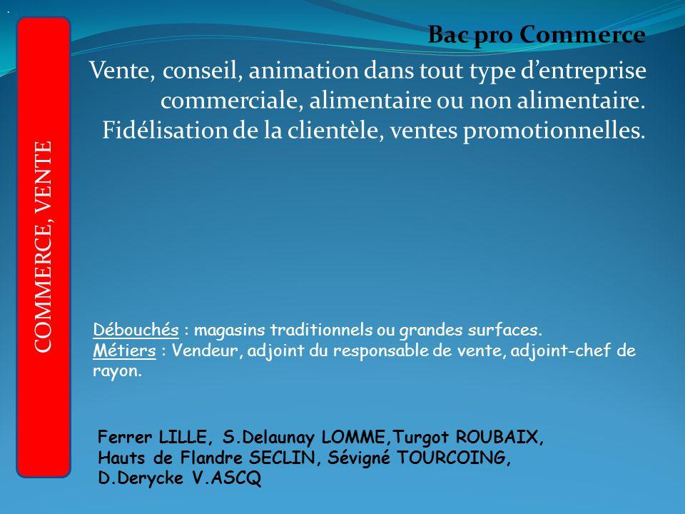 Bac pro Commerce Vente, conseil, animation dans tout type dentreprise commerciale, alimentaire ou non alimentaire.