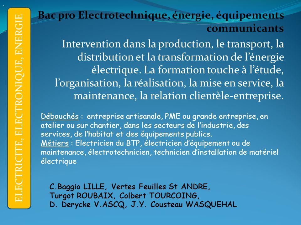 Bac pro Electrotechnique, énergie, équipements communicants Intervention dans la production, le transport, la distribution et la transformation de lénergie électrique.