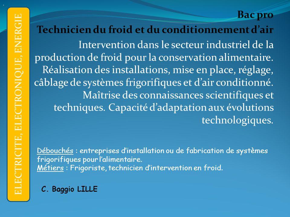 Bac pro Technicien du froid et du conditionnement dair Intervention dans le secteur industriel de la production de froid pour la conservation alimentaire.
