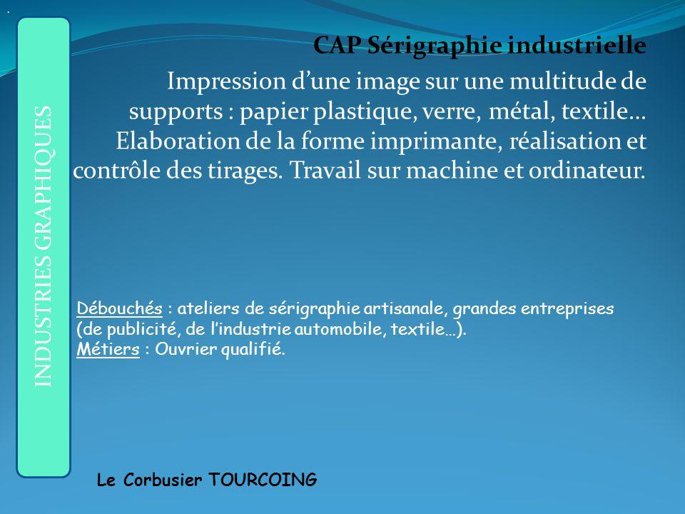 CAP Sérigraphie industrielle Impression dune image sur une multitude de supports : papier plastique, verre, métal, textile… Elaboration de la forme imprimante, réalisation et contrôle des tirages.