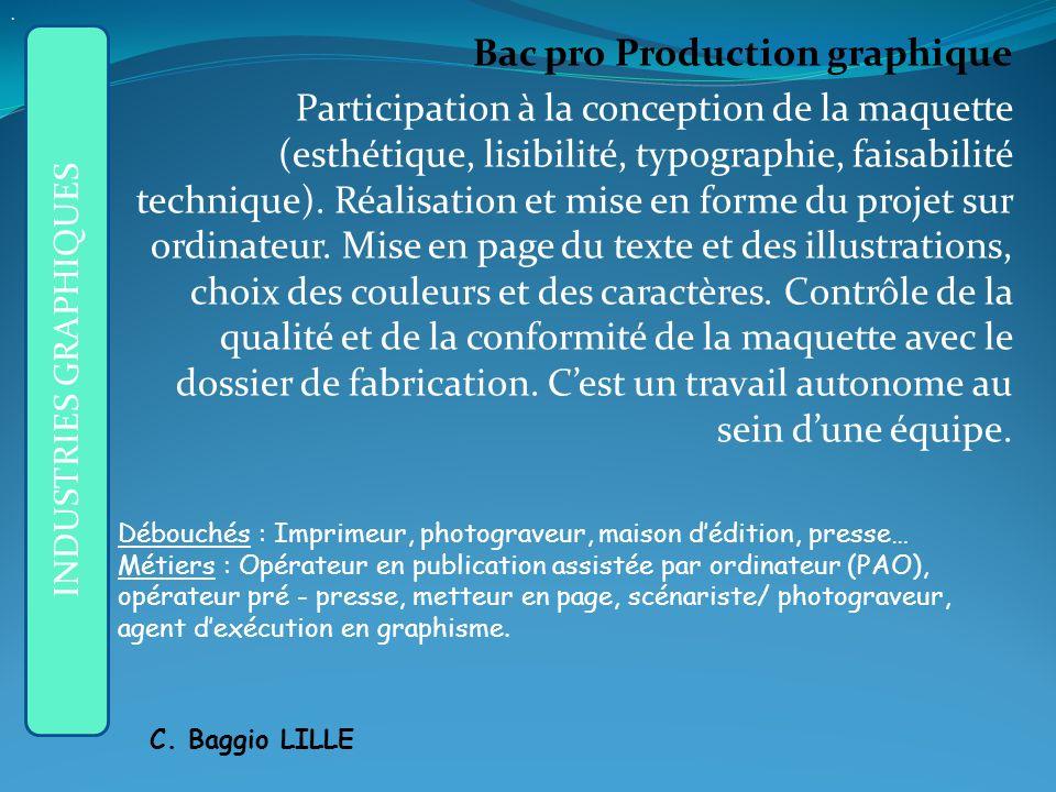 Bac pro Production graphique Participation à la conception de la maquette (esthétique, lisibilité, typographie, faisabilité technique).