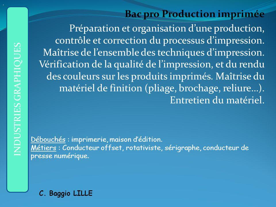 Bac pro Production imprimée Préparation et organisation dune production, contrôle et correction du processus dimpression.