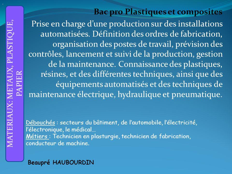 Bac pro Plastiques et composites Prise en charge dune production sur des installations automatisées.